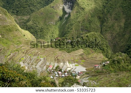 the world heritage ifugao rice terraces on the steep mountain slopes of batad in northern luzon in the philippines - stock photo
