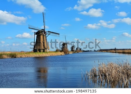 The world Heritage Kinderdijk windmill landscape at Kinderdijk, the Netherlands. - stock photo