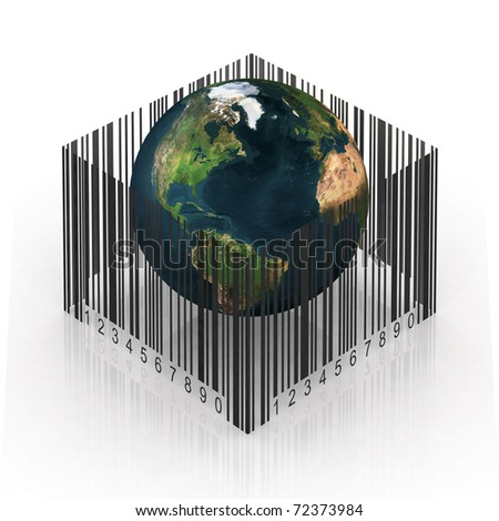 the world imprisoned by the bar code - stock photo