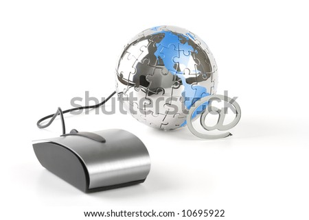 The world in a click - Global communications - over a white background - stock photo