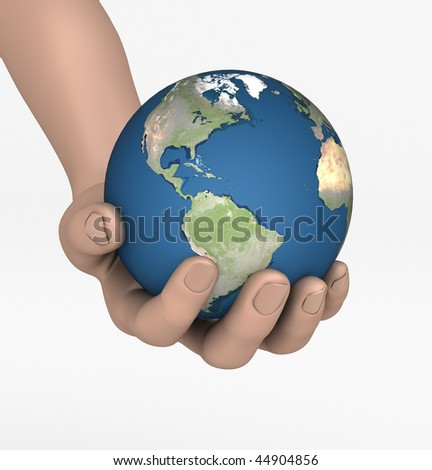 the World in palms of your hands - stock photo