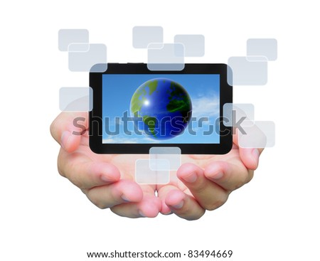 the world in touch pad PC on women hand - stock photo