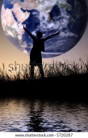 The world is mine, person isn't identifable - stock photo
