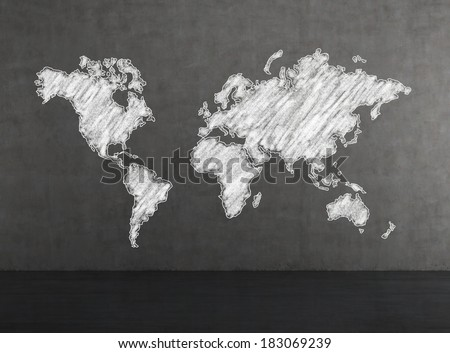 The world map, drawn by chalk - stock photo