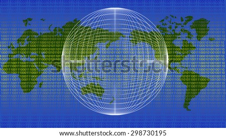 The world map/global communications/data transmission - binary code - stock photo
