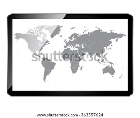 World Map Glitter Picture Frame Stock Illustration 363557624 ...