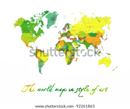 The world map in style of art. The political. Isolated on a white background - stock photo