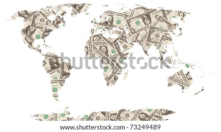 The world map made with dollar bills - stock photo