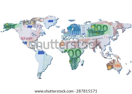 The world map made with euro bills. Isolated on white background - stock photo