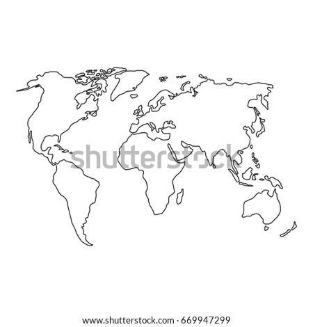 Map world black outline gray fill vectores en stock 279759032 the world map of black contour curves of illustration raster copy gumiabroncs Gallery