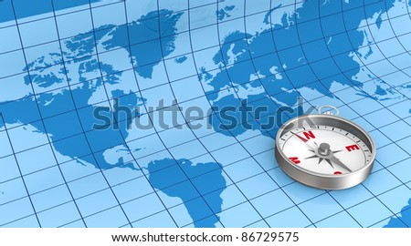 the world map on background with a compass (3d render) - stock photo