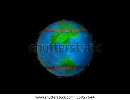 The World of Tennis, showing the american continent - stock photo