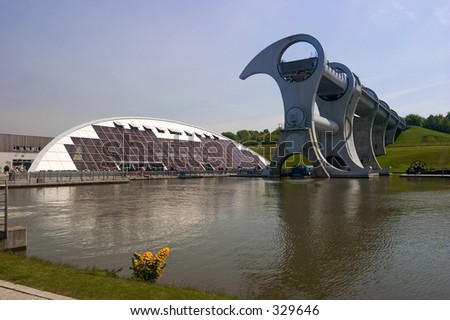 The world's only rotating shiplift between two canals at Falkirk, Scotland - stock photo