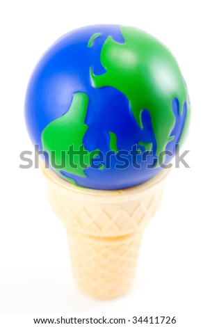 The world set on top of a regular ice cream cone - stock photo