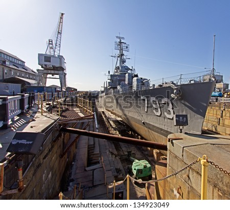 The World War II destroyer Cassin Young in exhibition in Charlestown, Massachusetts, USA. - stock photo