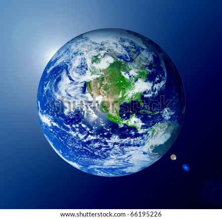The world with lights over blue background - stock photo