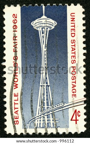 The 1962 Worlds Fair commemerative US Postage Stamp featuring the Space Needle and Monorail in Seattle, Washington. Four Cents - stock photo