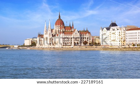 The worldwide best known building of Budapest, the Hungarian Parliament, completed in 1904.                                - stock photo