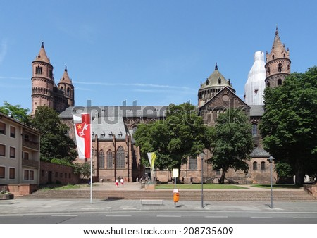the Worms Cathedral in Worms, a city in the Rhineland-Palatinate in Germany - stock photo