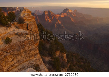 The Wotan Throne lit by setting sun. Grand Canyon, North Rim, Bright Angel Viewpoint.