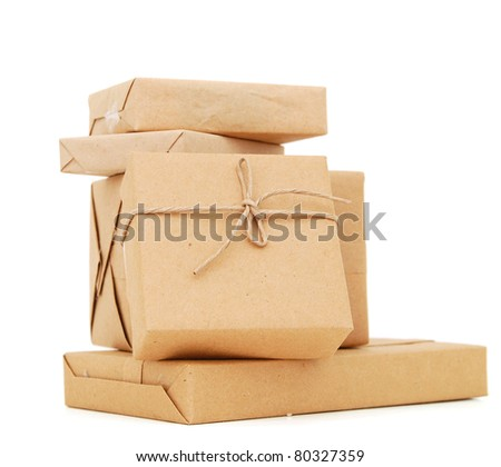 The wrapping courier boxes - stock photo