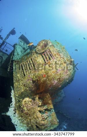 The wreck of the Cedar Pride, Aqaba, Red Sea, Jordan - stock photo