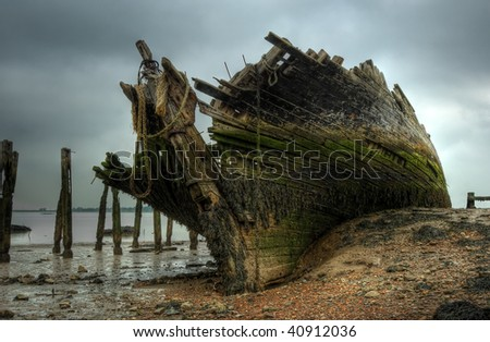 The wreck of the Hans Egede - a Dutch schooner. - stock photo