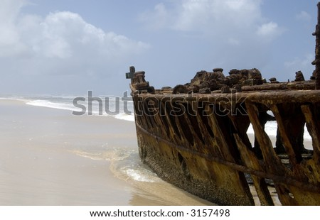 "The wreck of the ""Maheno"" is one of the points of interest on world heritage site ""Fraser Island"" - stock photo"