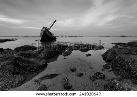The wrecked ship in black and white , Thailand - stock photo
