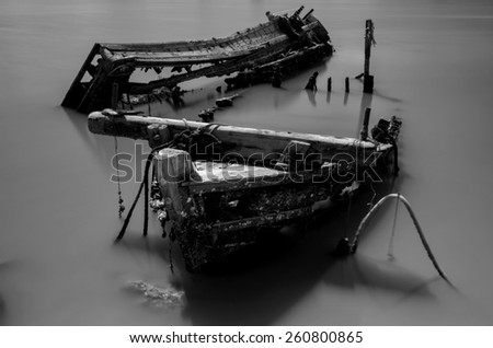 The wrecked ship in black and white, Thailand - stock photo