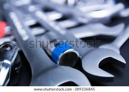 The wrench steel tools for repair - stock photo