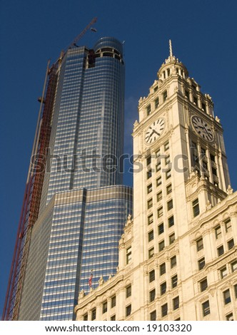The Wrigley Building in Chicago with Trump Tower (under construction) in the background