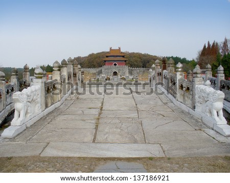 """The Xianling Tomb of the Ming Dynasty, Zhongxiang, Hubei, China. Historic Monuments of Zhongxiang in """"Imperial Tombs of the Ming and Qing Dynasties"""" is UNESCO World Heritage Site since 2000. - stock photo"""