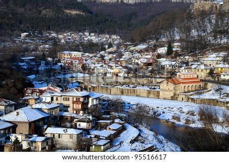 The Yantra river and Asenov district of Veliko Turnovo in Bulgaria in the winter - stock photo