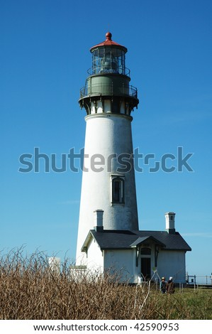 The Yaquina Bay Lighthouse, opened in 1973 at Yaquina Head Outstanding Natural Area, Newport Oregon