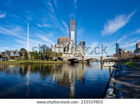 The Yarra River and southbank of Melbourne's CBD on a clear winter morning - stock photo