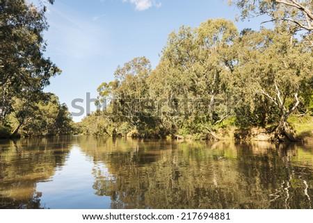 The Yarra River flowing through Melbourne city, Australia - stock photo