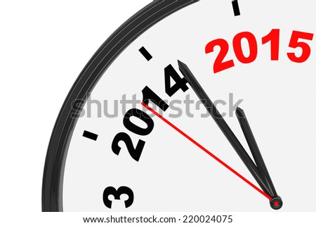 The year 2015 is approaching. 2015 sign with a clock on a white background - stock photo