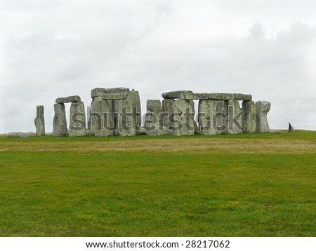 The 5000 year old Stonehenge, UK on a grey March day - stock photo