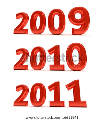 The years 2009, 2010, 2011 as a 3D render over white background - stock photo