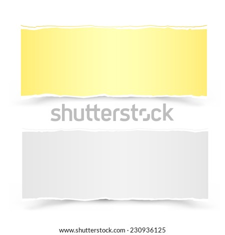 The yellow and white torn pieces of paper on the white background - stock photo