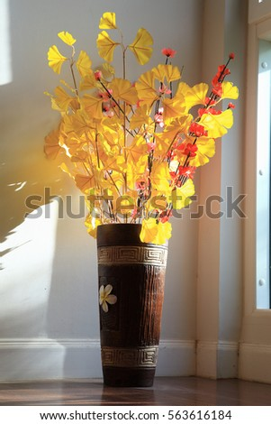 Yellow Color Artificial Flowers Brown Vase Stock Photo Edit Now