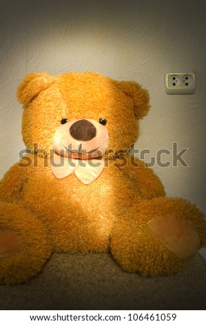 The yellow fluffy bear sits shined with beams of the coming sun