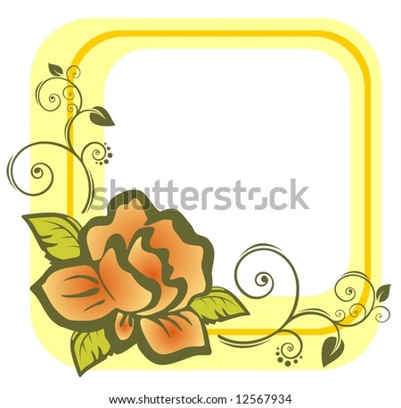 The yellow frame from the light stylized rose with decorative curves.