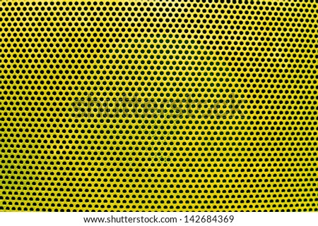 the yellow grate background with holes - stock photo