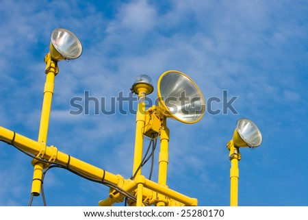 The yellow homing network at the airport - stock photo