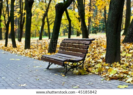 The yellow leaf has fallen to a garden bench