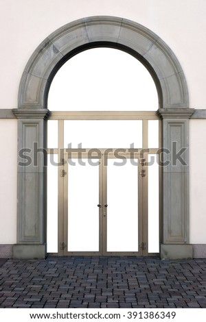 The yellow  plastic door frame is built in in the concrete arch stylized under a retro. Glass surfaces are isolated - stock photo