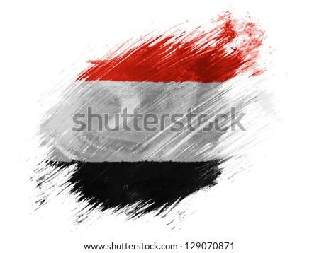 The Yemeni flag painted with brush on white background - stock photo
