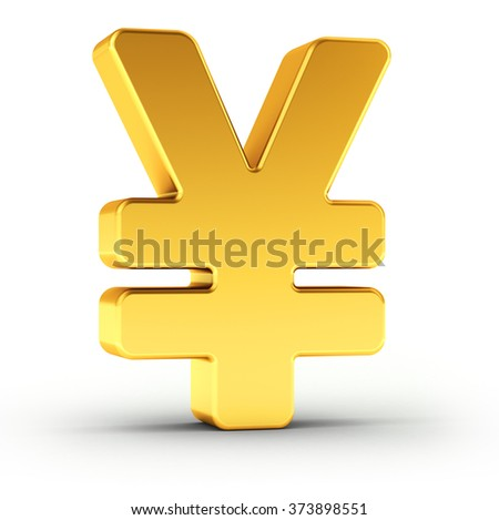 The Yen symbol as a polished golden object over white background with clipping path for quick and accurate isolation. - stock photo